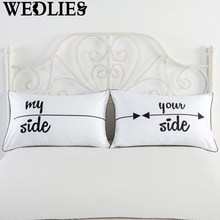 Polyester Letters Printed Pillow Cases 2Pcs Couples Cushion Pillow cases Bedding Cover Rectangle Home Textiles