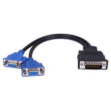 Two VGA Outputs Connector DMS-59 Pin Male to 2 VGA 15 Pin Female Splitter Adapter Cable VGA Splitter for PC Desktops FW1S(China)