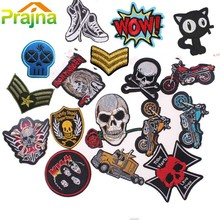 Cat Punk Rock Patch Logo Skull Patch Biker Iron On Cheap Embroidered Motorcycle Band Patches For Clothes Stickers Jeans Badges(China)