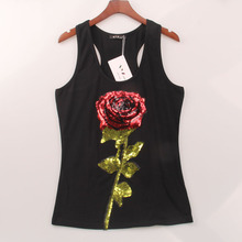 2 Colors Summer Style Tank Top Women Rose Sequins Sequined Vest Camisole Women Tops Fashion Sexy Hot Racer Back Tank Tops(China)