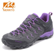 MERRTO Leather Outdoor Hiking Shoes Female Warm Snow Boots Walking Climbing Non slip Women Hiking Boots Trekking Shoes Sneakers(China)