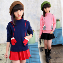 The girl's sweater covers the first autumn and winter new children's knitted bottom shirt with the big children's baby(China)