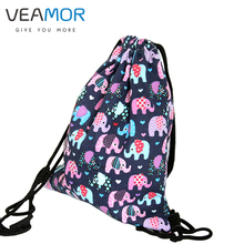 VEAMOR Girls shoe Bags Women Travel Backpack Handmade Canvas Elephant Printed Drawstring Backpack Storage Bags B325