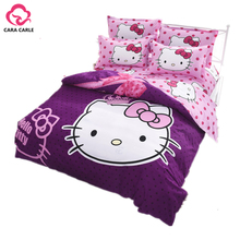CARA CARLE Hello kitty Bedding Set 4pcs include Duvet Cover Bed Sheet Children Kids Cartoon Bed Linen housse de couette