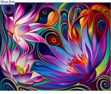 MOONCRESIN Diy Diamond Painting Cross Stitch Colorful Lotus 3D Diamond Mosaic Full Square Diamond Embroidery Decoration Painting(China)
