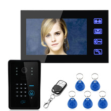 "Free Shipping!Touch Key 7"" TFT RFID Password Video Door Phone Intercom System with IR-CUT 1000 TV Line Access Control System(China)"