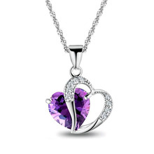 2016 6 color hot fashion heart heart purple gem pendant necklace sexy charm crystal jewelry boutique gift(China)