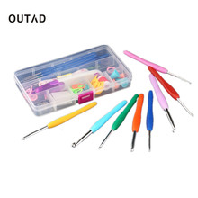 OUTAD 16 Pieces Stainless Steel Colorful Soft Handle Crochet Hooks Needles Stitches Knitting Craft Crochet Set Accessories Box