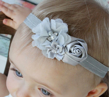 Newborn Flower Headband Kids hair Flower Accessories Newborn diamond Rose Flower Chiffon Headband Ring Elastic Hair Bands W040