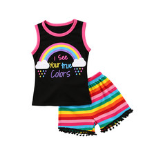 729b49e7e10 Toddler Kid Baby Girl Clothes Top Rainbow Print Sleeveless T-Shirt +Striped  Leggings 2pcs Sunsuit Outfit Set Size 2-6T