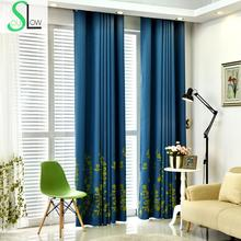 Slow Soul Blue Green Garden Curtains High Grade Modern Embroidered Leaves Cortinas Tulle For Living Room Bedroom Sheer Blinds