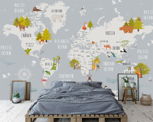 Beibehang Custom wallpaper cartoon world map children room background wall home decoration background wall mural 3d wallpaper(China)