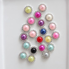 16mm pearl rhinestone button wedding embellishment headband DIY accessory flatback environmental protection plating 60pcs/lot