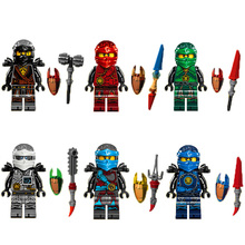 6PCS Compatible LegoINGlys NinjagoINGlys Sets NINJA Heroes Kai Jay Cole Zane Nya Lloyd With Weapons Action & Toy Figures Blocks
