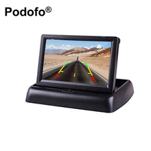 "Podofo 4.3"" HD Foldable Car Rear View Monitor LCD TFT Display Screen 2 Way Video Input for Truck Vehicle Reversing Backup Camera"