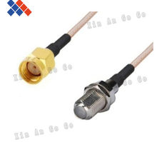 Wholesale 10pcs RF connector F female to RP-SMA male Straight type RG316 Pigtail Cable 15CM Free shipping(China)