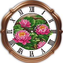 Innovation items needlework kit DIY home decoration counted cross stitch kit clock embroidery set - Pink red lotus