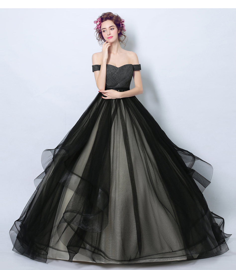cheap Black Ball Gown Evening Dress Ball with Pleats on sale