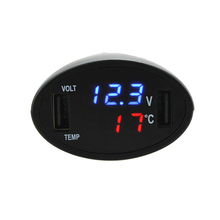 3 in 1 Digital LED Car Voltmeter Thermometer Auto USB Car Charger 12V/24V Temperature Meter Voltage Gauge Cigarette Lighter