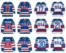 Ice Hockey Jerseys 1980 Miracle On Ice Team USA Jack O'Callahan 17# Mike Eruzione 21# Jim Craig 30# Hockey Jersey White Blue(China)