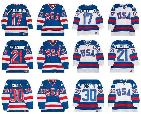 Ice Hockey Jerseys 1980 Miracle On Ice Team USA Jack OCallahan 17# Mike Eruzione 21# Jim Craig 30# Hockey Jersey White Blue<br>