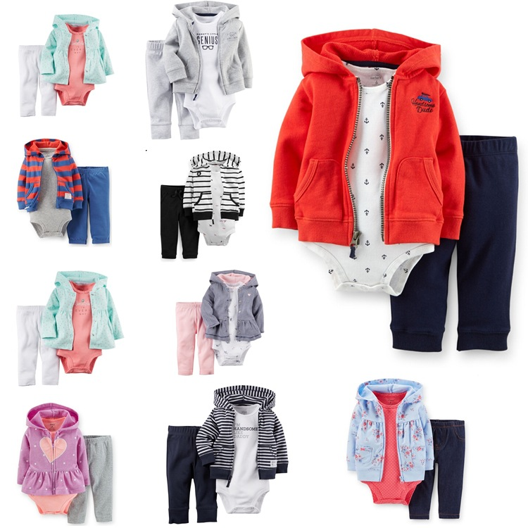 Baby boy girls Clothing Sets bebe Long Hooded + short sleeve Rompers+Pants 3pcs/set Autumn Suits Infant Clothes 304<br><br>Aliexpress