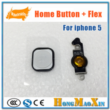 Original For Apple 5G Home Button Key with Flex Cable Assembly For iPhone 5 Repair Parts Black White(China)