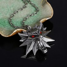 2016 Hot Sale Pendant Wizard Witcher 3 Medallion Pendant Necklace Wolf Head Necklaces Men Women Wholesale Silver Plated Chain