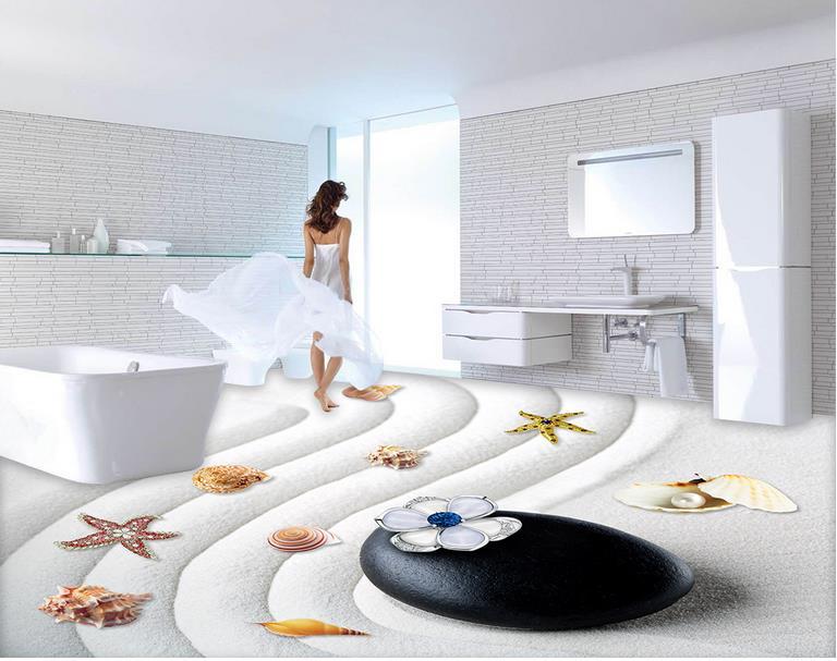 custom wallpaper for floor White sand beach 3d room wallpaper landscape pvc roll floor self adhesive 3d wallpaper walls floors<br>