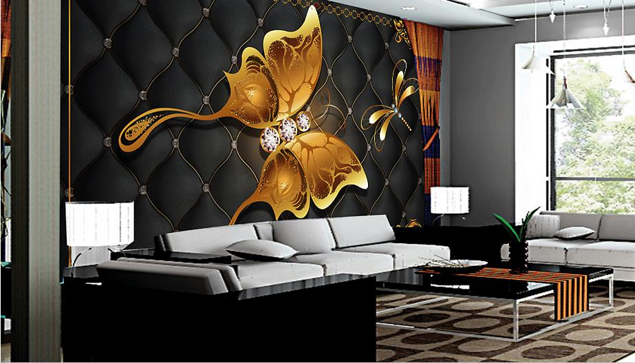 3d photo wall murals Golden butterfly living room TV background wallpaper for kids room European style Jewelry wallpaper<br>
