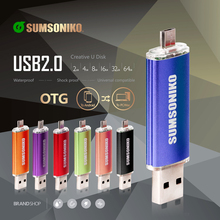 SUMSONIKO USB 2.0 OTG Pen Drive For All Android Phone USB Flash Drive Fashion USB Stick Gift Memory Stick 64GB 32GB 16GB 8GB 4GB