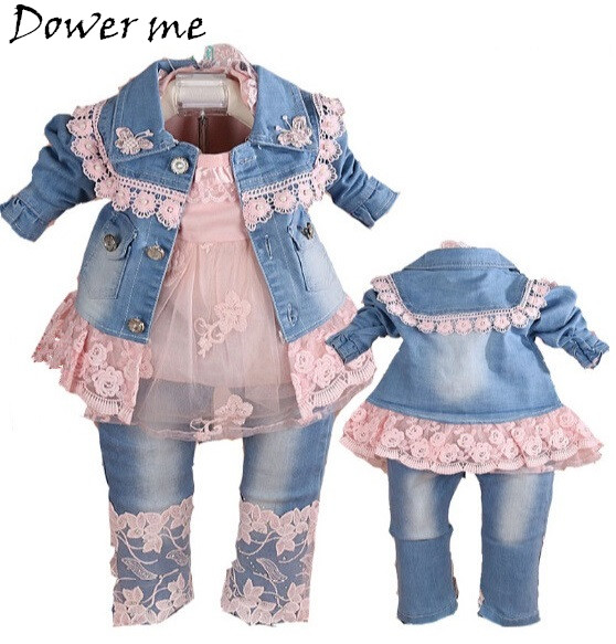 New 2017 Autumn Girls High Quality Denim Jacket Clothing Sets 3pc Baby Girl Denim Sally Patchwork Clothes Sets Kids Clothes Suit<br>