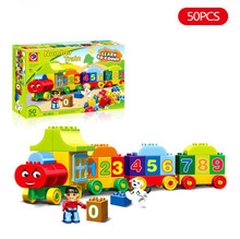 Big Blocks My First Number Train Building Set Compatible with Duplo Educational Toys DIY Baby Toys