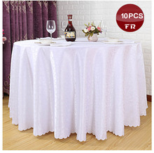 Free Fast Express Ship 10PC/Pack White Polyester Jacquard Brocade Fabric Table Cloth Table Linen Cover for Weddings Decoration(China)