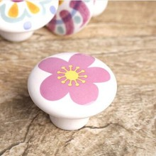 drawer knob pull handle white ceramic kitchen cabinet handle knob pink yellow shoe cabiner dresser cupboard furniture knob 38mm(China)