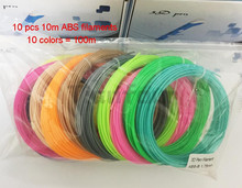 10pcs*10m 10 Colors 3D Pen 3D Printer Filaments plastic Rubber Consumables Material 1.75 ABS Optional for 3D Pen  free shipping