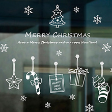 Christmas Hangings Sticker Christmas New Year Decal Decoration Window Glass(China)