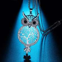 Special Design 2017 New Women Fashion Pendant Necklace CZ Crystal Owl Shaped Long Necklace Metal Tree Of Life Chain Necklace