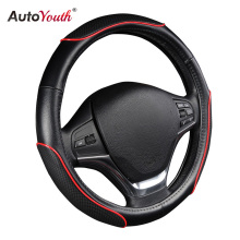 "AUTOYOUTH Car Steering Wheel Cover Sporty Wave Pattern with Red Line Stitching M size Fits 38cm/15"" Diameter Car Accessories(China)"