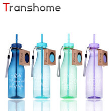 Transhome Fashion Straw Water Bottle 650ml Sports Bottles For Summer Unbreakable Portable Plastic Kettle Creative Gift Waterfles
