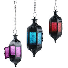 Hot Glass Metal Moroccan Delight Garden Pendant Lights Hanging Lantern With Candle Holder Table purple/blue/red(China)