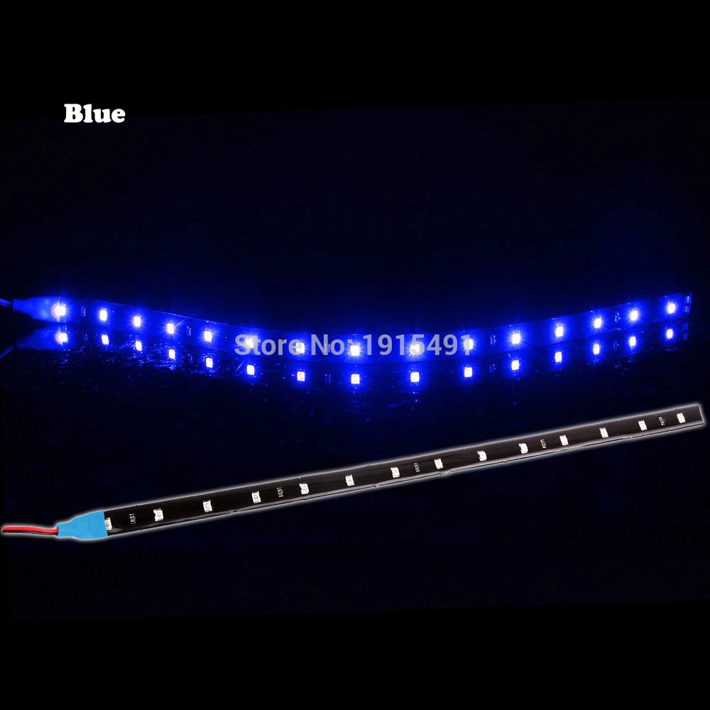 1Pcs 6 Colors 30cm High Power Flexible LED Strip light Ribbon DRL Waterproof 3528 SMD 15LEDs DRL Car Auto Decoration lamp Tape