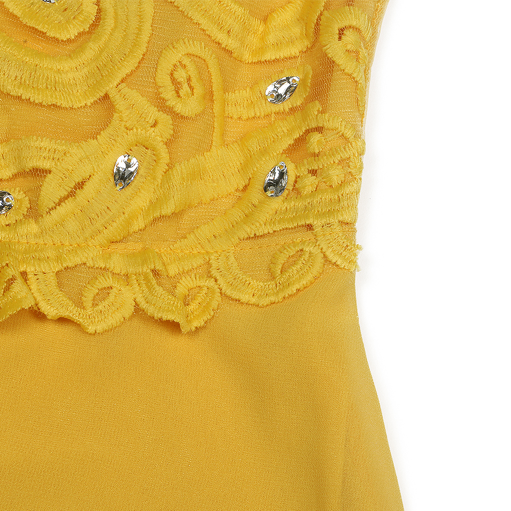 Yellow Lace Hollow Out Women Dresses 8