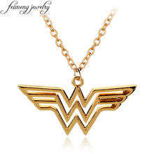 feimeng jewelry DC Superhero Wonder Woman Necklace Golden Super Hero Supergirl Logo Pendant Necklace For Women Charm Accessories