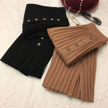 2018 New Autumn Winter Women's High Waisted Pleated Skirt Black Coffee Side Split Single Breasted Medium Long Knitted Skirt(China)