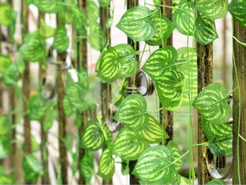 artificial watermelon leaves fabric vine fake silk lierre ivy house store ceiling decor foliage