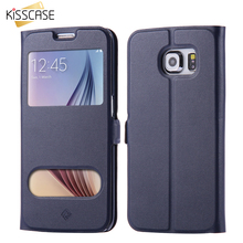 KISSCASE For Samsung Galaxy S7 Edge S6 Edge S5 S4 Case Ultra Flip Window Leather Stand Phone Cover For Samsung S7 S6 Note 5 4 3