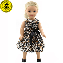 American Girl Dolls Clothing Fashion Leopard Sleeveless Dress Doll Clothes of 18 inch Hot Sale Doll Dress Girls Best Gift MG-110(China)