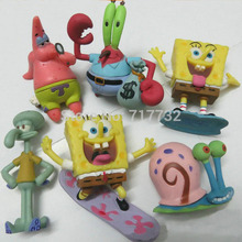 TraVelMall 6pcs/set spongebob doll action figures sponge bob Patrick Star Mr.Krabs for kids gift