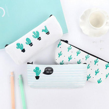 X39 Fresh Simple Mint Cactus Pencil Bag Big Capacity Canvas Pen Case Stationery Holder School Supply Student Stationery Kid Gift(China)